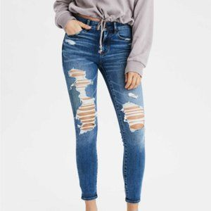 American Eagle Distressed Jegging Crop Size 2
